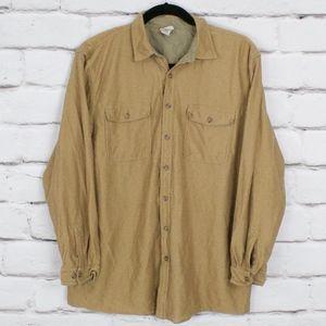 LL Bean Tan Button Down Long Sleeve Shirt Size XLT